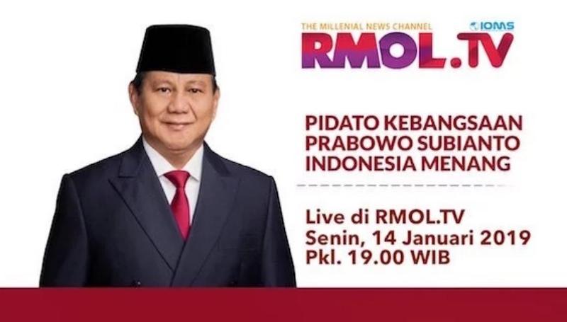 Malam Ini, Prabowo Subianto Pidato Kebangsaan